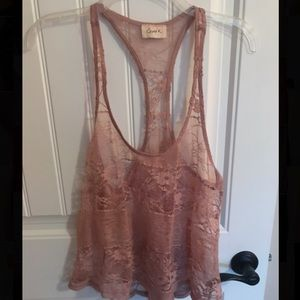 Crystal K champagne color lace shirt